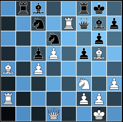 The position after 25. Re7. After the possible 25... Ba6 Black could have a played on with a Knight and a Rook for the Queen but he considered that insufficient compensation and resigned