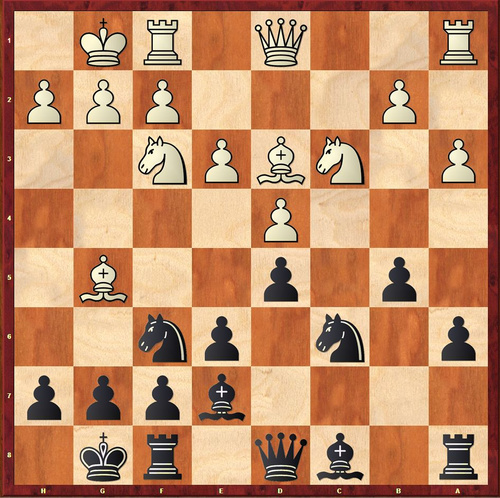 White found a strong novelty here and Black cannot prevent losing a pawn... (solution is at the bottom of the page)*