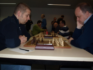 the top boards (C. Buhr vs. IM Polaczek in the front)